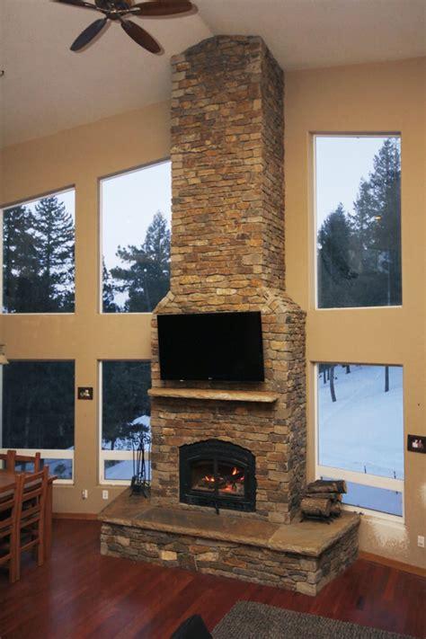 20+ Foot Showcase Fireplace With Stone Veneer Fessler