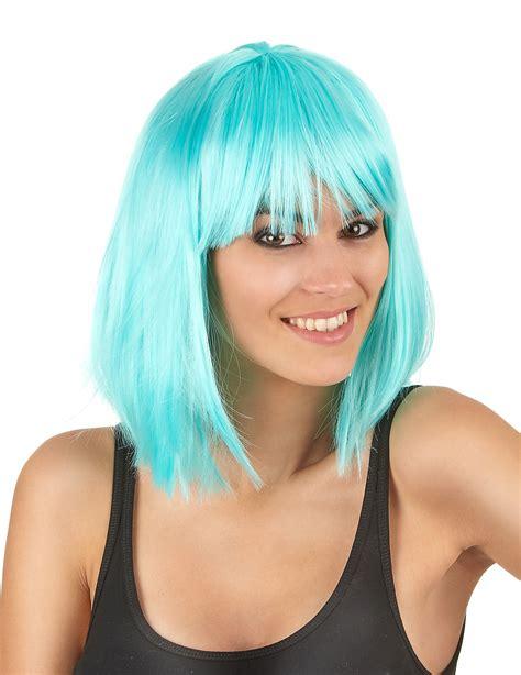 Mittellange Perücke In Himmelblau Für Frauen Perücken,und