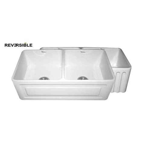 white apron front sink shop whitehaus collection farmhaus 18 in x 33 in white