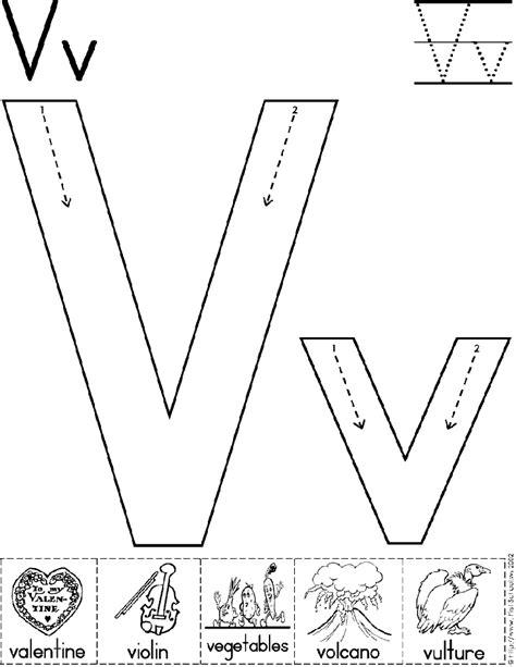 alphabet letter v worksheet standard block font