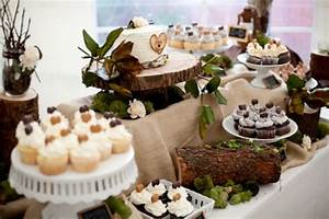 Cake love: a woodland wedding cake buffet with tree trunk