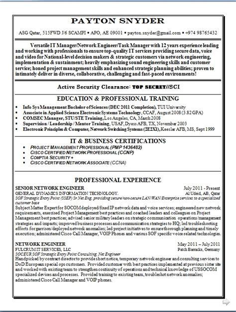 senior network engineer resume pattern in word format free download
