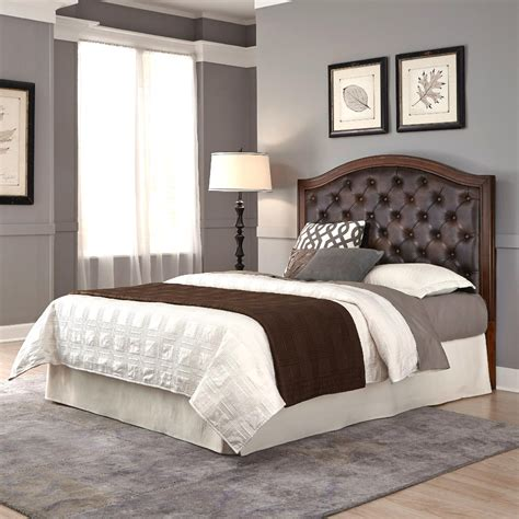 brown leather headboard home styles duet king california king tufted