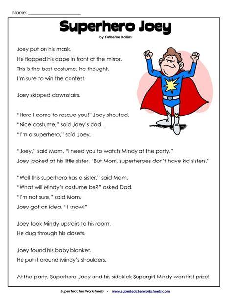 grade reading comprehension worksheets