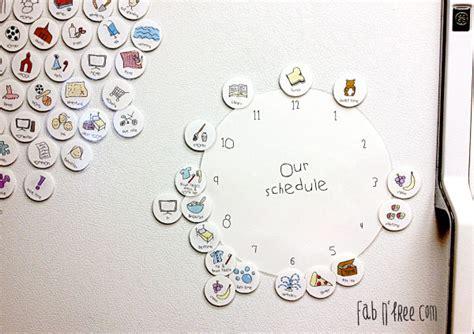 simple clock schedule  kids fab