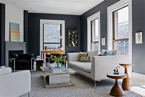 Grey Leather Sectional Living Room Transitional with