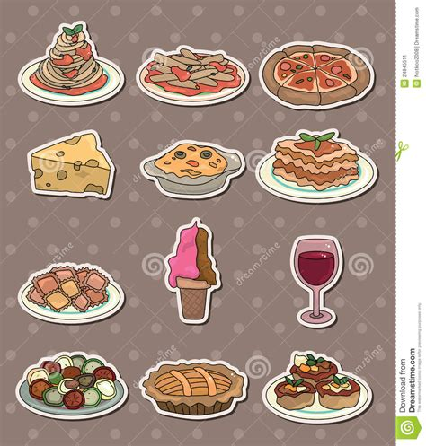 stickers protection cuisine cheap italy food stickers stock image image stickers