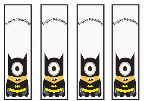 despicable  bookmarks birthday printable