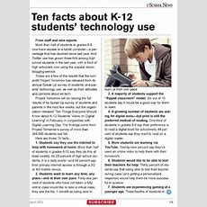 Article (part 1) 10 Facts About K12 Students'technology Use Courtesy Of Eschoolnewscom
