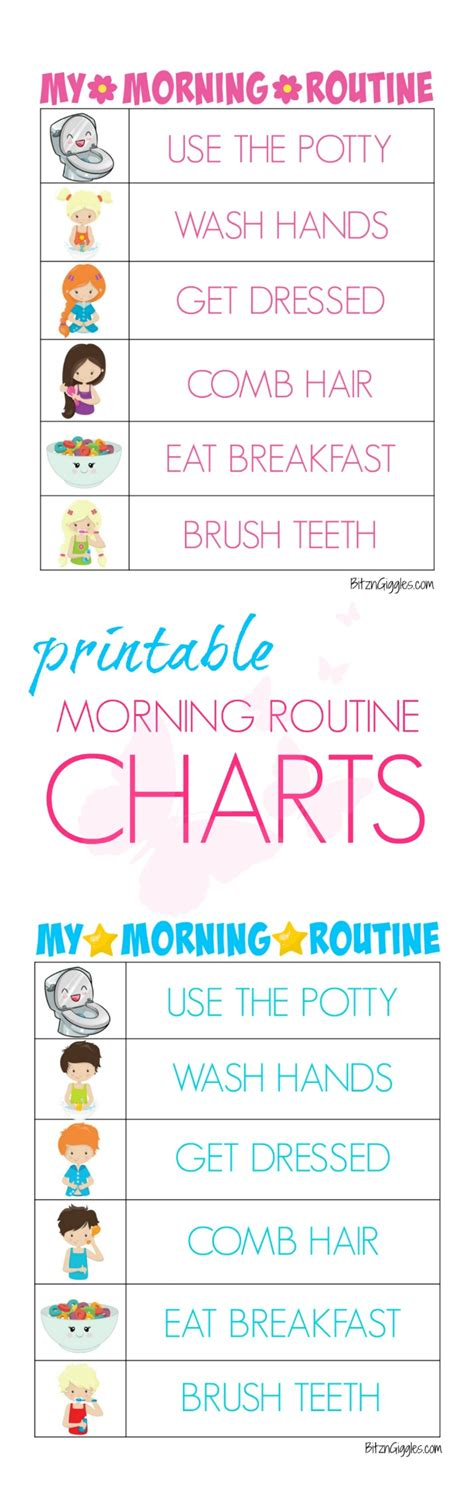 printable morning routine charts bitz giggles