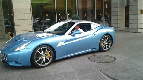 This is 198994 ferrari california (dark blue) by shutterbug studios on vimeo, the home for high quality videos and the people who love them. Baby Blue Ferrari California in Hungary - YouTube