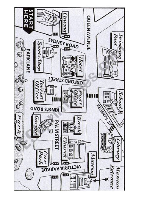 giving directions  map esl worksheet  teimasias