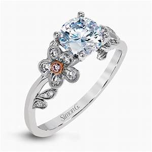 18k engagement ring with pink diamond accents garden With engagement ring with wedding ring