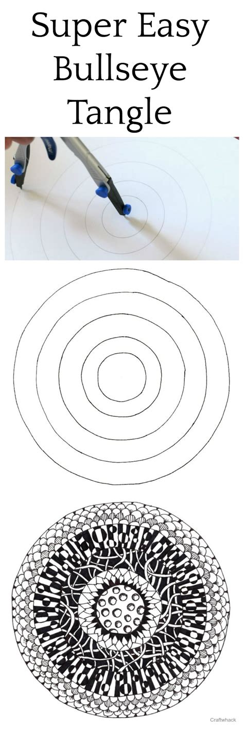 cool bullseye tangle drawing craftwhack