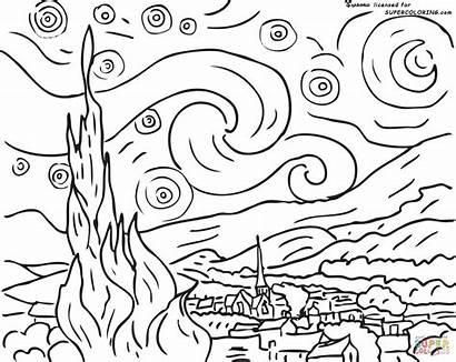 Gogh Vincent Ausmalbilder Starry Coloring Night Printable