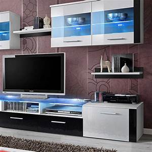 Meuble Tv 250 Cm : meuble tv mural design zoom 250cm blanc noir ~ Teatrodelosmanantiales.com Idées de Décoration