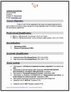 Example Template Of An Excellent Mba Finance  U0026 Marketing Resume Sample For Freshers With Great