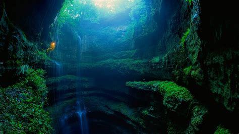 men nature moss plants alabama usa cave waterfall