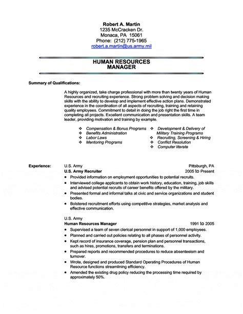 human resources transition resume