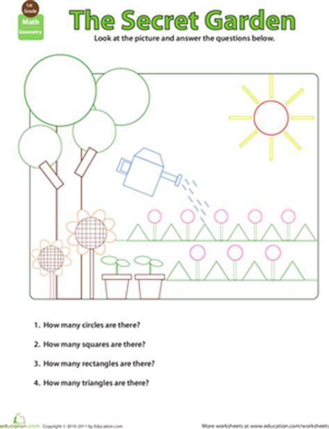 shapes in pictures secret garden worksheet education