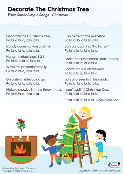 decorate  christmas tree lyrics poster super simple