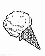Ice Cream Coloring Cone Pages Delicious Printable sketch template