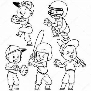 Dibujos Animados De Ni U00f1os Jugando Al B U00e9isbol  Vector