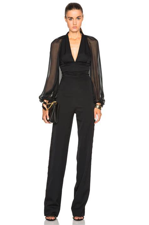 tuxedo jumpsuit tamara mellon tuxedo jumpsuit with chiffon sleeves in