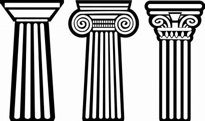 Greek Ancient Clipart Column Greece Vector Architecture
