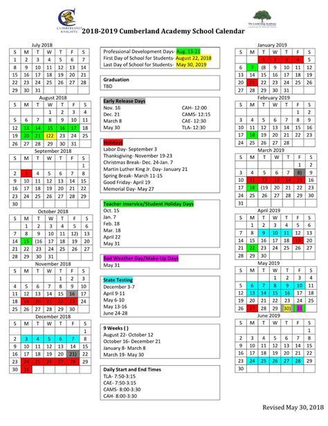 school calendar parents cumberland academy middle school