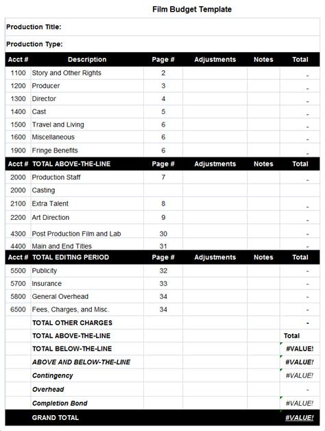Templates Film by 8 Film Budget Templates Word Excel Pdf Free