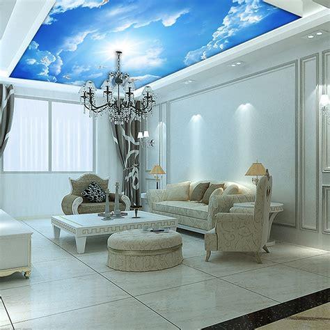 custom murals  blue sky ceiling wallpaper mural wall