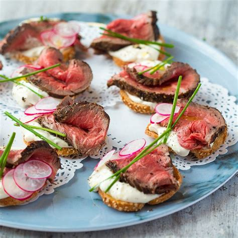 beef canapes recipes beef and horseradish crostini food and snacks
