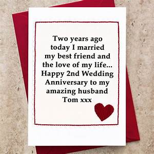 personalised 2nd wedding anniversary card by jenny arnott With second wedding anniversary gift ideas