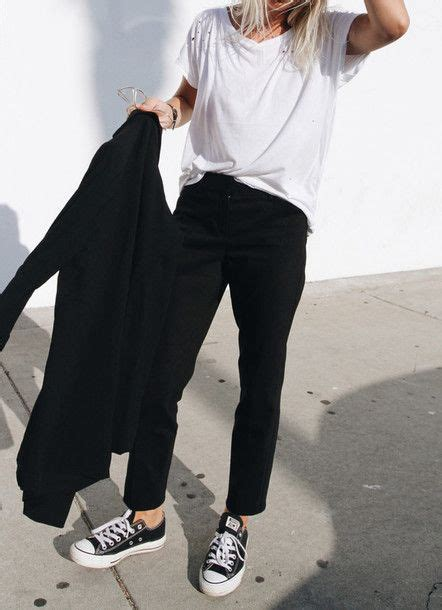 Pants Tumblr Outfit Black Shirt White