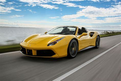 yellow ferrari  spider front side view  motion