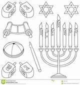 Coloring Judaism Elements Clipart Kippa Template Jewish Torah Pages Symbols Yarmulke Scroll Star Di Hebrew Menorah Elementi David Pointer Dreamstime sketch template