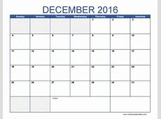 Blank December Calendar Templates 2016 Printable Word PDF