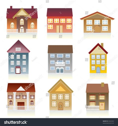 Houses With Various Architectural Styles Stock Vector