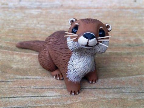 river otter handmade miniature polymer clay animal figure