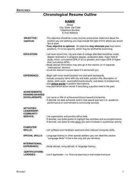 Resume For by Resume Outline 1 Resume Cv