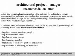 Architectural project manager recommendation letter
