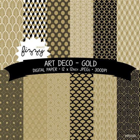 jpeg 12 x deco great gatsby 1920s 1930s gold patterned