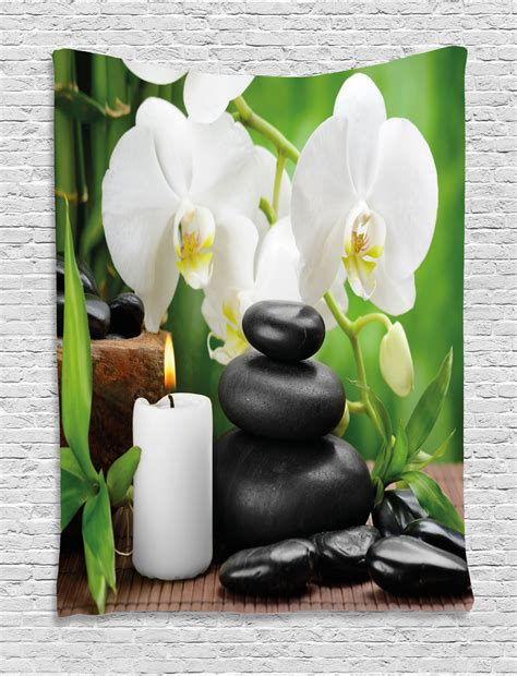Pikbest has 200 massage wall decor design images templates for free. Spa Decor Tapestry, Zen Hot Massage Stones with Orchid Candles and Magnificent Nature , Wall ...