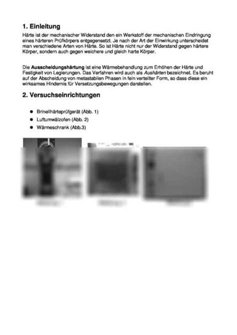 Laborpraktikumsbericht Fach Werkstoffkunde: Ausscheidungshärtung, Tiefungsversuch nach Erichsen