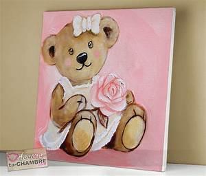 Tableau Pour Chambre Bébé : tableau ourson rose assise 17 vente tableau ourson pour enfants decore ta chambre ~ Teatrodelosmanantiales.com Idées de Décoration