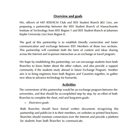 partnership proposal templates word  pages