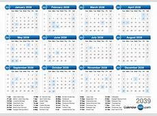 2039 Calendar