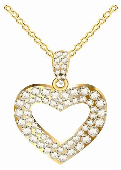 Necklace Heart Clipart Gold Golden Jewelry Transparent