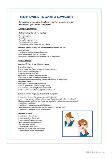 telephone complaint worksheet  esl printable